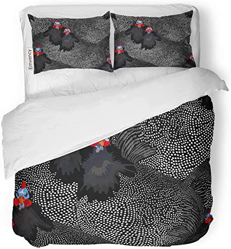 Amazon Com Tarolo Bedding Duvet Cover Set Abstract Of Two Rooster And Hen Chicken In Black White Polka Dots Cock Spring Summer Color Animal 3 Piece Queen 90 X90 Quilt Cover With Zipper Closure
