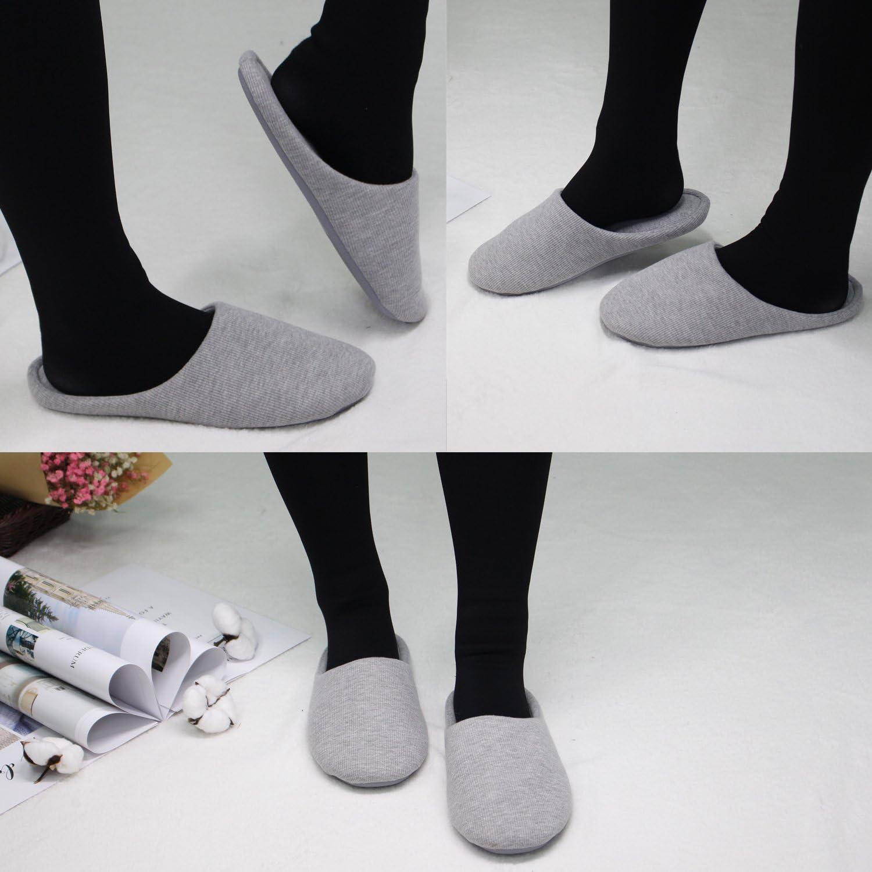 ofoot Pantoufles Dint Rieur pour Femmes Chaussures de Ville Antid rapantes en Coton Lavable avec Mousse Moire de Forme