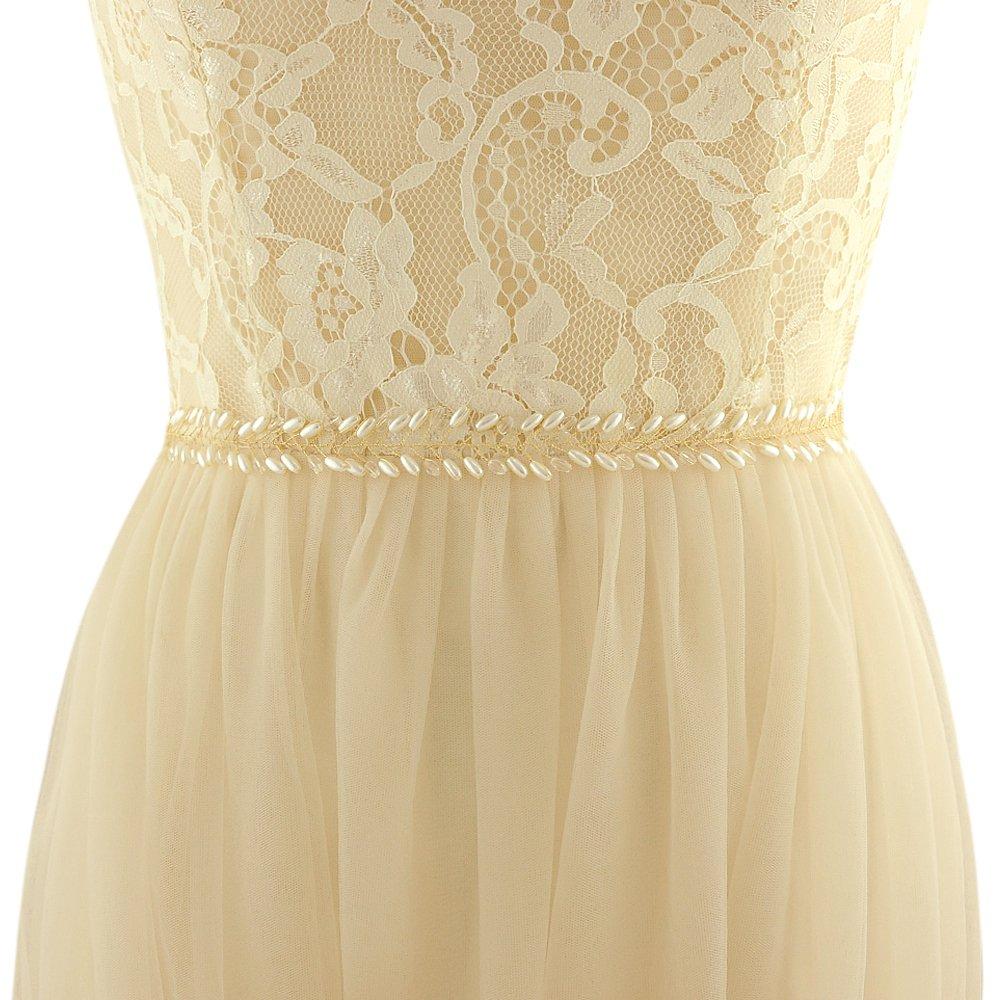 ULAPAN Women's Crystals Diamonds Wedding Belts Sash Pearls Bridal Belt Sashes for Wedding Dress,180212SH46G (Gray)