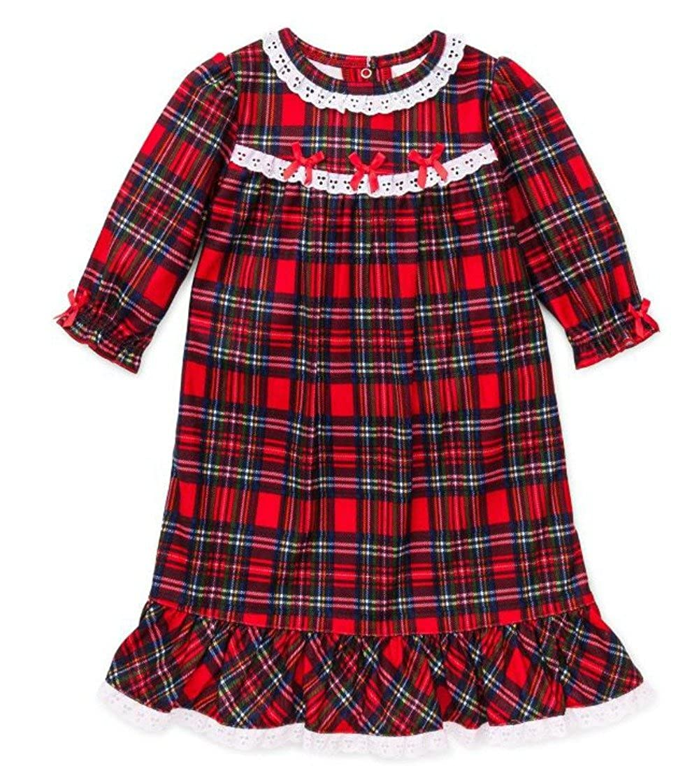 Little Me Little Girls' Christmas Pajamas - Toddler Red Plaid Nightgown