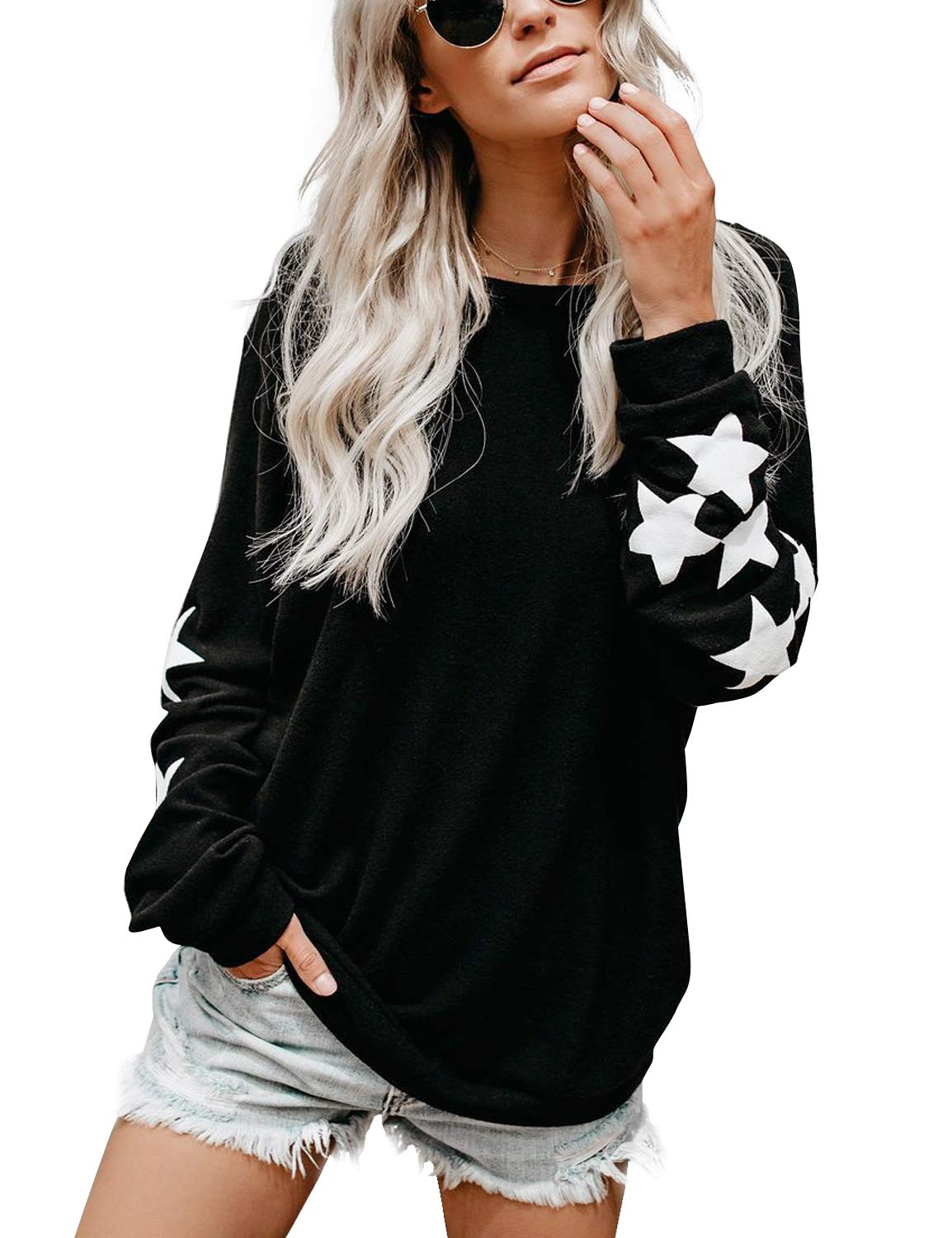 Woman's pullover sweater with stars