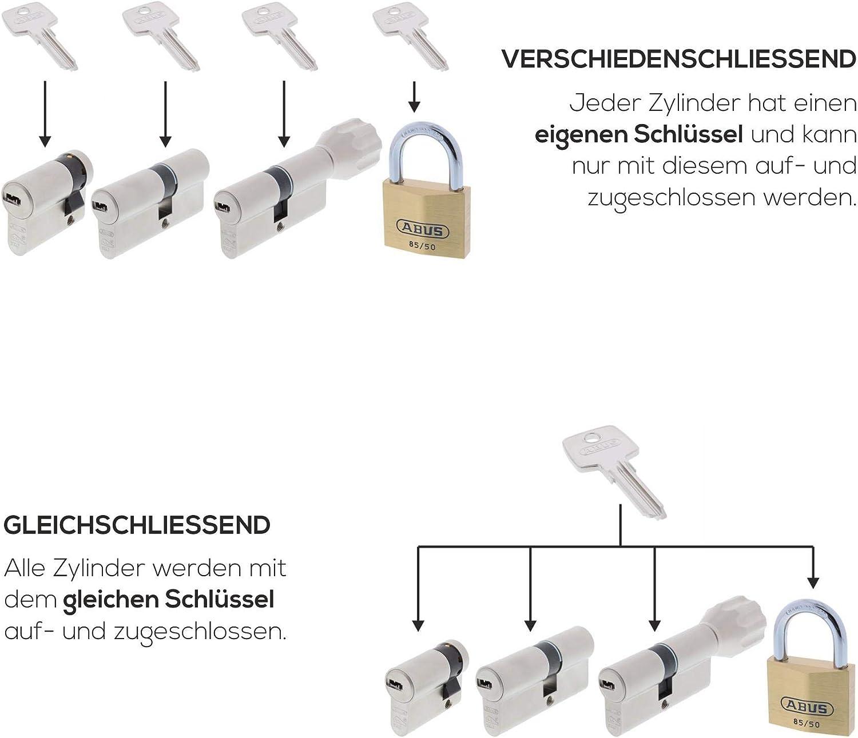 ToniTec CodeCard Gr/ö/ße 35 45 mm Schlie/ßung 2 ABUS Schlie/ßzylinder Schlie/ßanlage Zylinderschloss als Doppelzylinder gleichschlie/ßend EC550 mit 3 Schl/üssel inkl