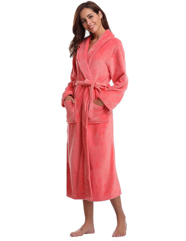 Aibrou Damen Bademantel Coral Fleece Saunamantel aus Polyester weich und flauschig Bathrobe Waden lang S bis XL