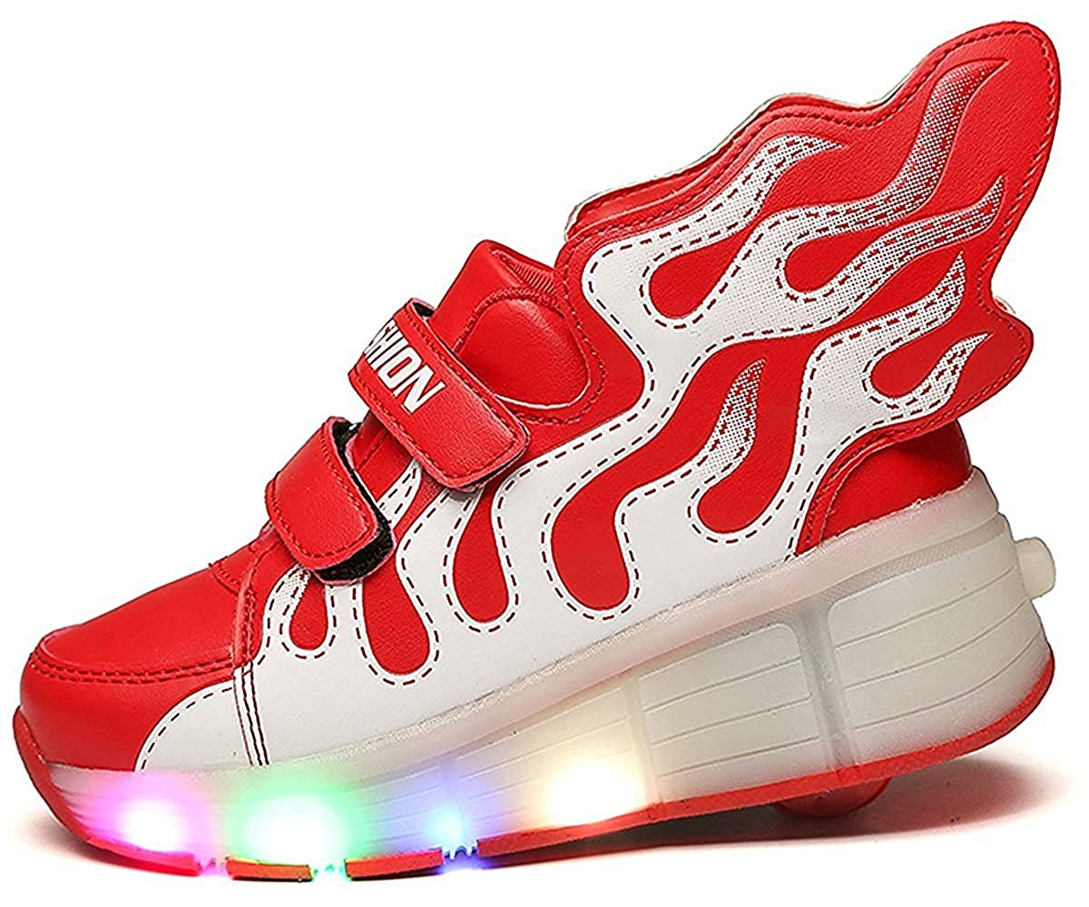 FG21ds21g Kids Boys Girls High-Top LED Light Up Sneakers Single Wheel Roller Skate Shoes Gift for Halloween Christmas