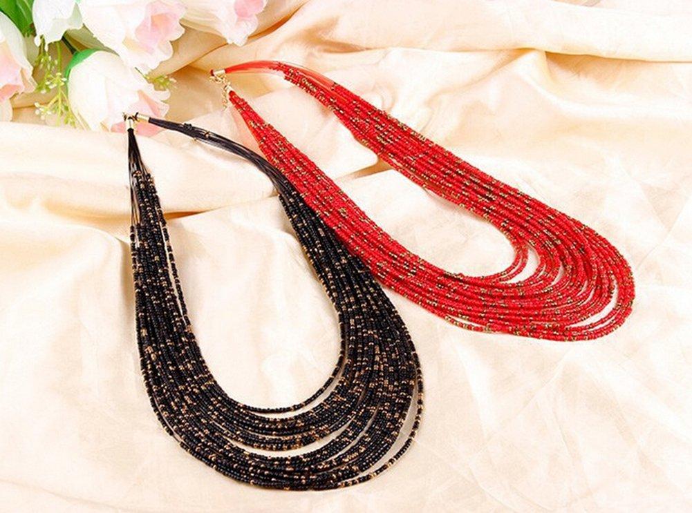 Fablcrew Collier r/étro multicolore de style boh/ème multicouche avec perles suspendues