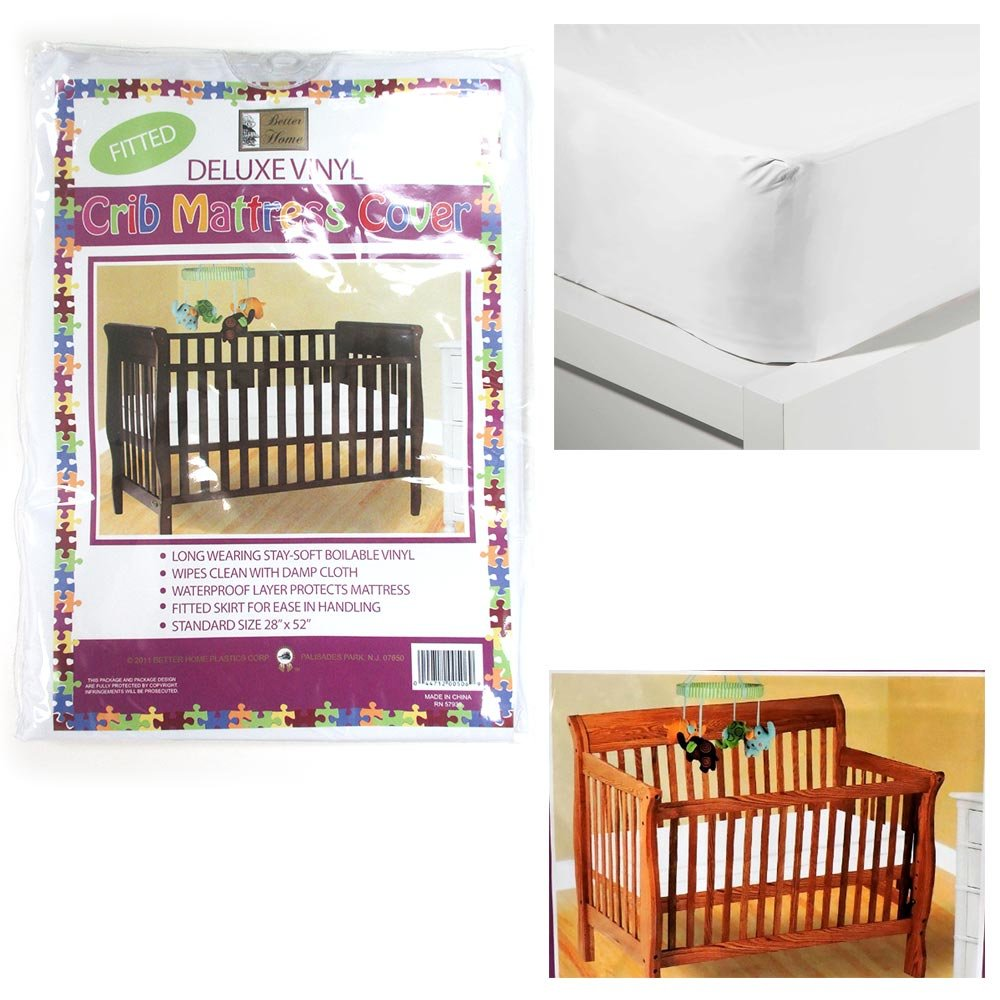 2pc Crib Size Fitted Mattress Cover Vinyl Toddler Bed Allergy Dust Bug Protector