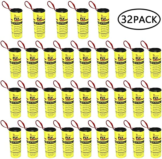 KOBWA 4 PCAK Fly Paper Ribbons,Sticky Fly Catcher Trap,Non-Toxic Flying Insect Killer for Home//Outdoor Use