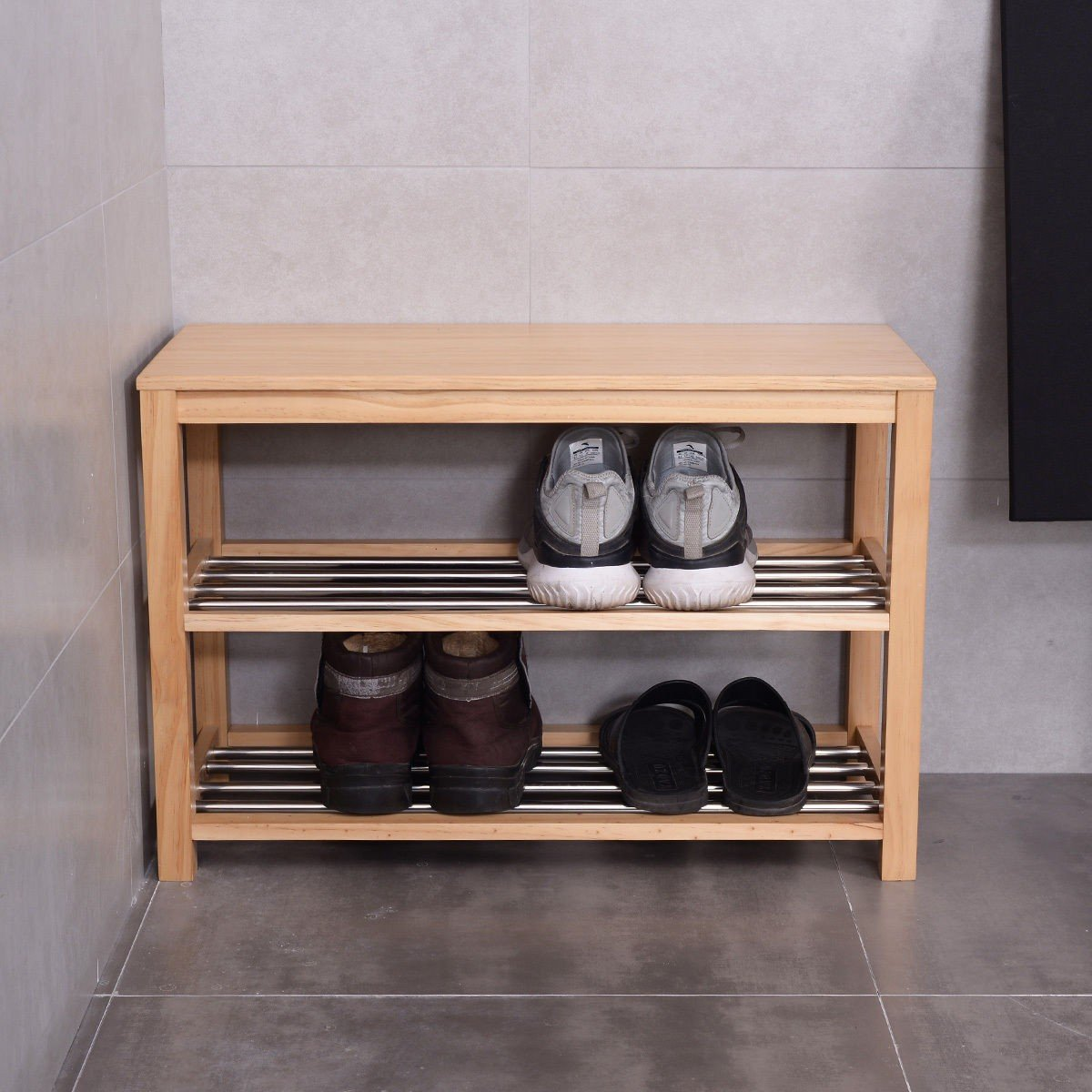 MyEasyShopping 3-Tier Wooden Shoe Rack Storage Bench, Wood Wooden Closet Entry Bathroom Kitchen Shoes Shelf Natural Color, Shoe Wood Rack Storage Bench Closet Bathroom Kitchen Entry by MyEasyShopping (Image #5)