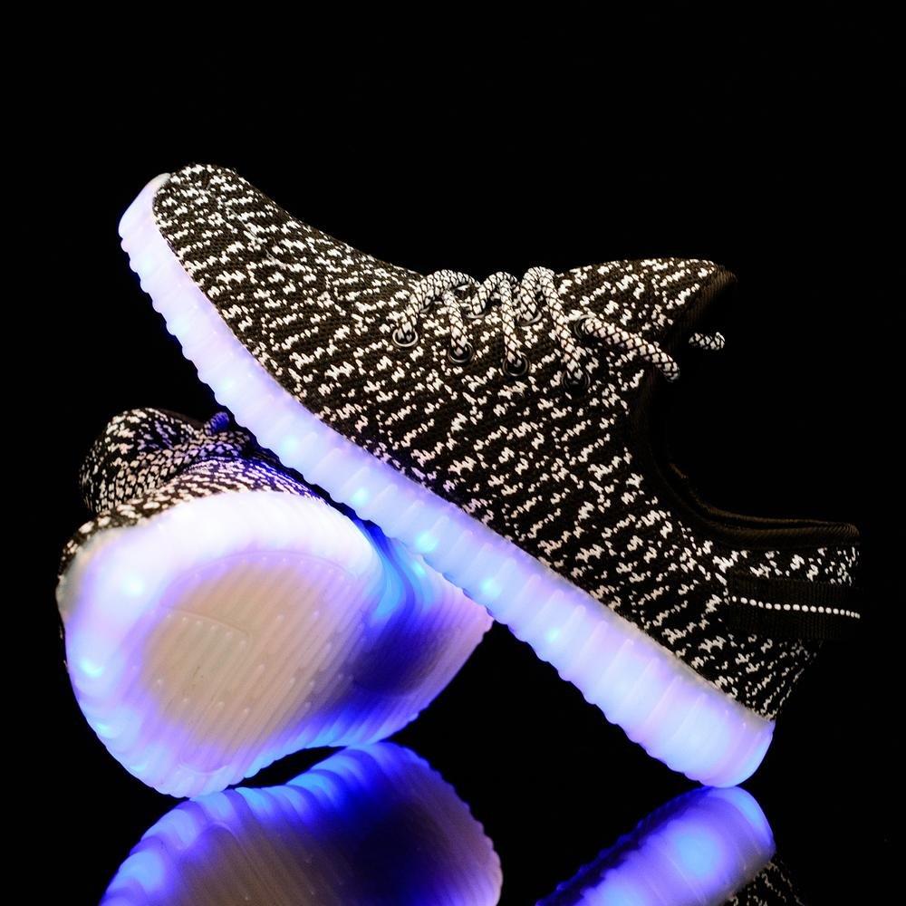 TZTONE Light up Sneakers Sound Contol USB Rechargeable LED Shoes for Men Women LNSCDYZ B075QGNJWQ EU 44/12 B(M) US Women = 11 D(M) US Men|Black01