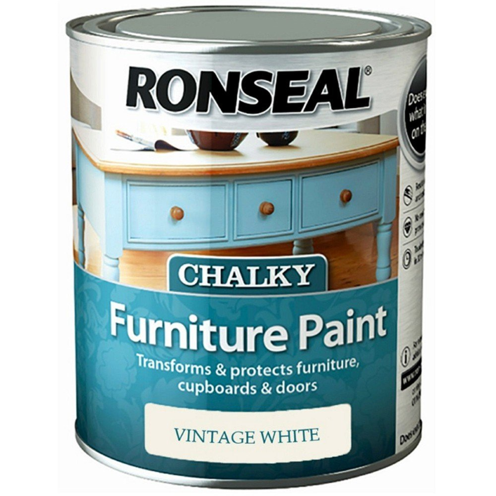 Ronseal chalky furniture paint ronseal - Ronseal Chalky Furniture Paint 750ml Vintage White
