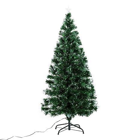 Homcom árbol De Navidad 150cm Artificial árboles Con 180 Luces Led 7 Colores Y Estrella Decorativa Brillante árbol Con Soporte Fibra óptica