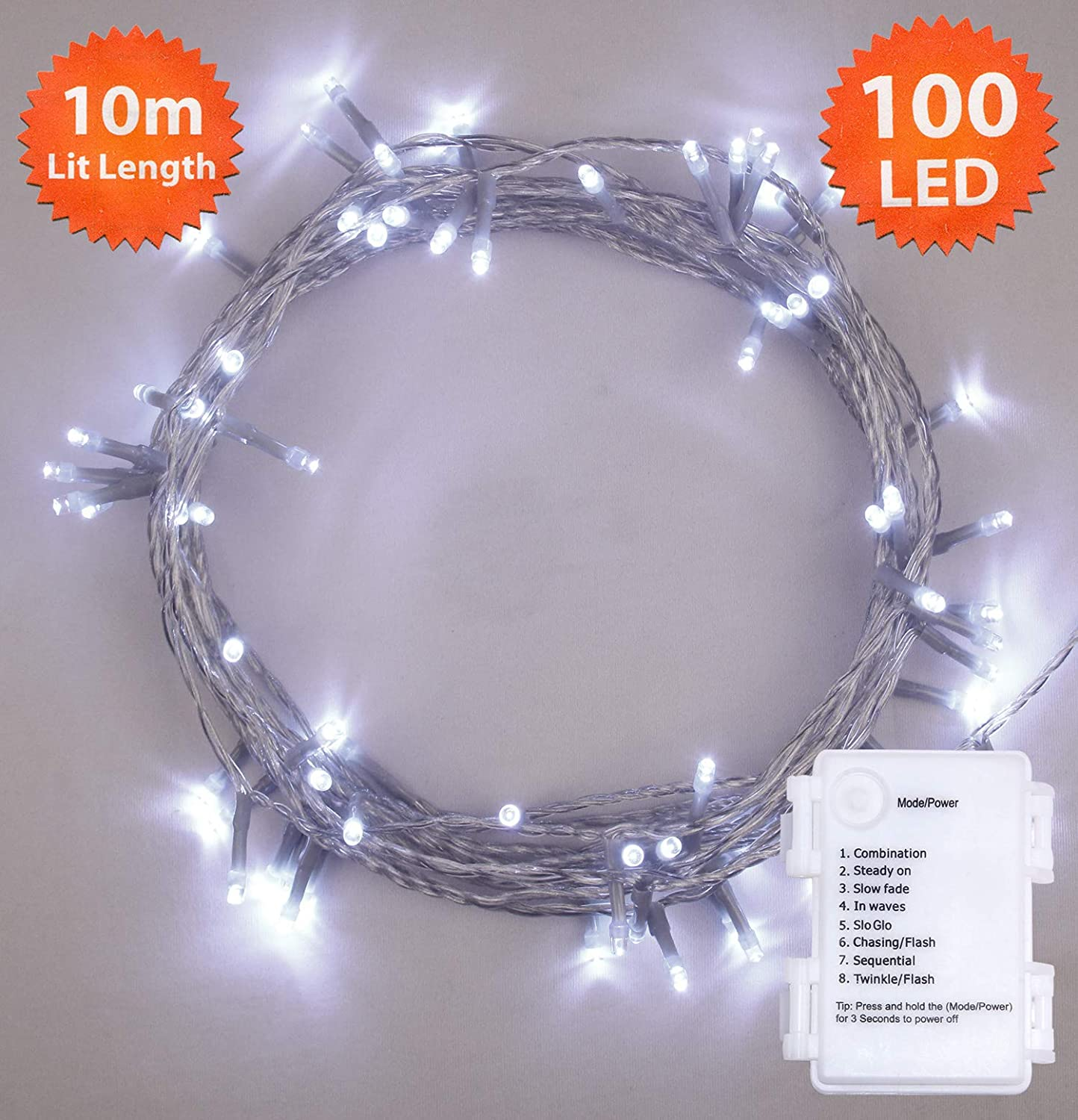 Fairy Lights 100 Led 10m Bright Cool White Timer Indoor Outdoor Christmas Running Chasing Light Circuit Electronic Projects Festive Wedding Bedroom Novelty Decorations Tree String Battery
