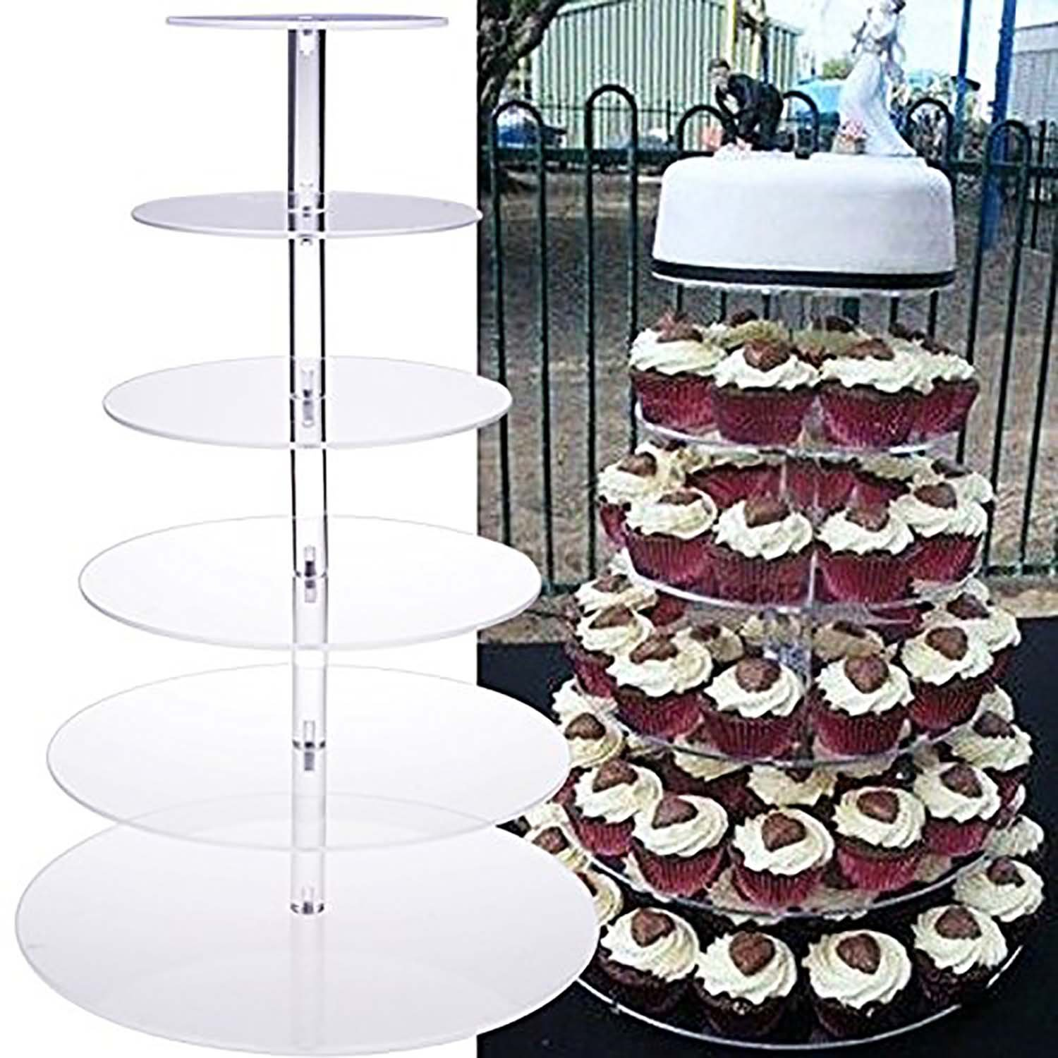 Acazon 5/6/7 Tier Round Clear Acrylic Cupcake Stand Wedding Display Cake Dessert Tower for Birthday Wedding Party [US STOCK] (6 Tier)