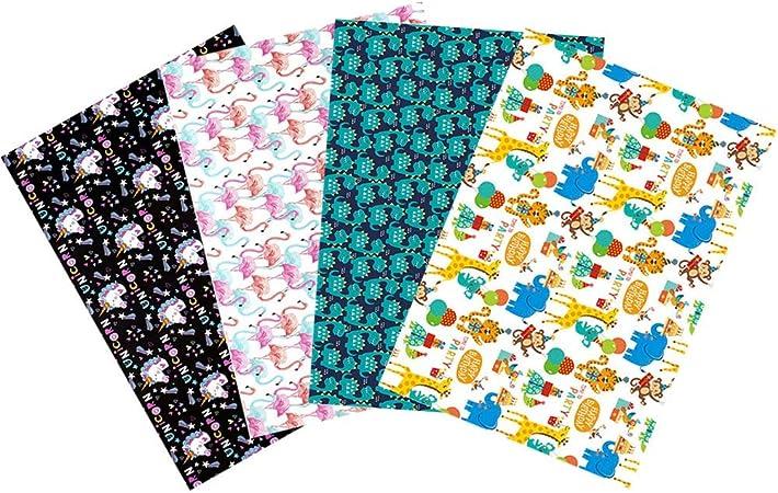 Papel de regalo, lindo paquete de dibujos animados, papel de regalo colorido: unicornio, dinosaurio, flamenco, zoológico de animales (70 x 50 cm)
