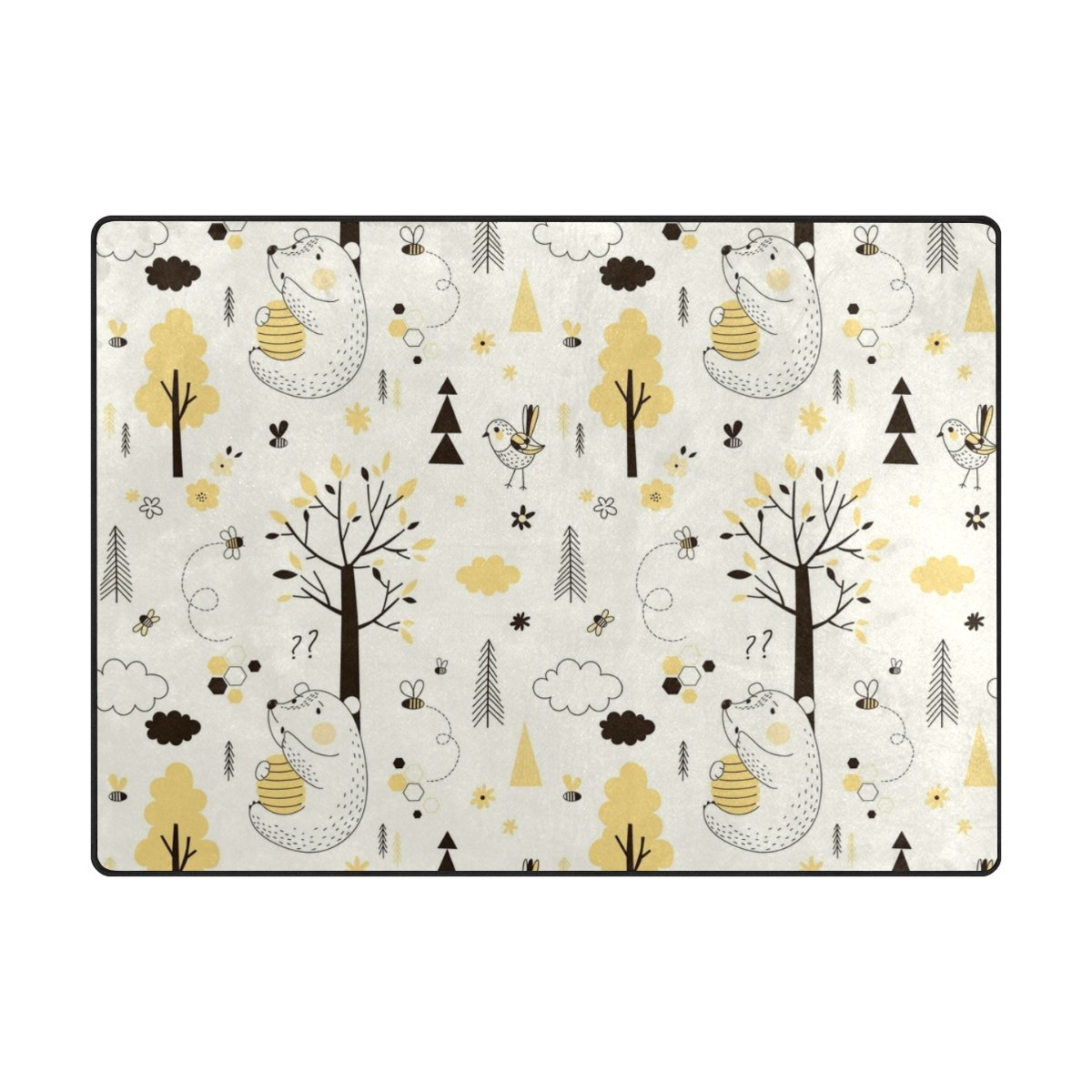 Vantaso Soft Foam Area Rugs Cute Forest Animal Bird Bear Yellow Beige Non Slip Play Mats for Kids Boys Girls Playing Room Living Room 63x48 inch