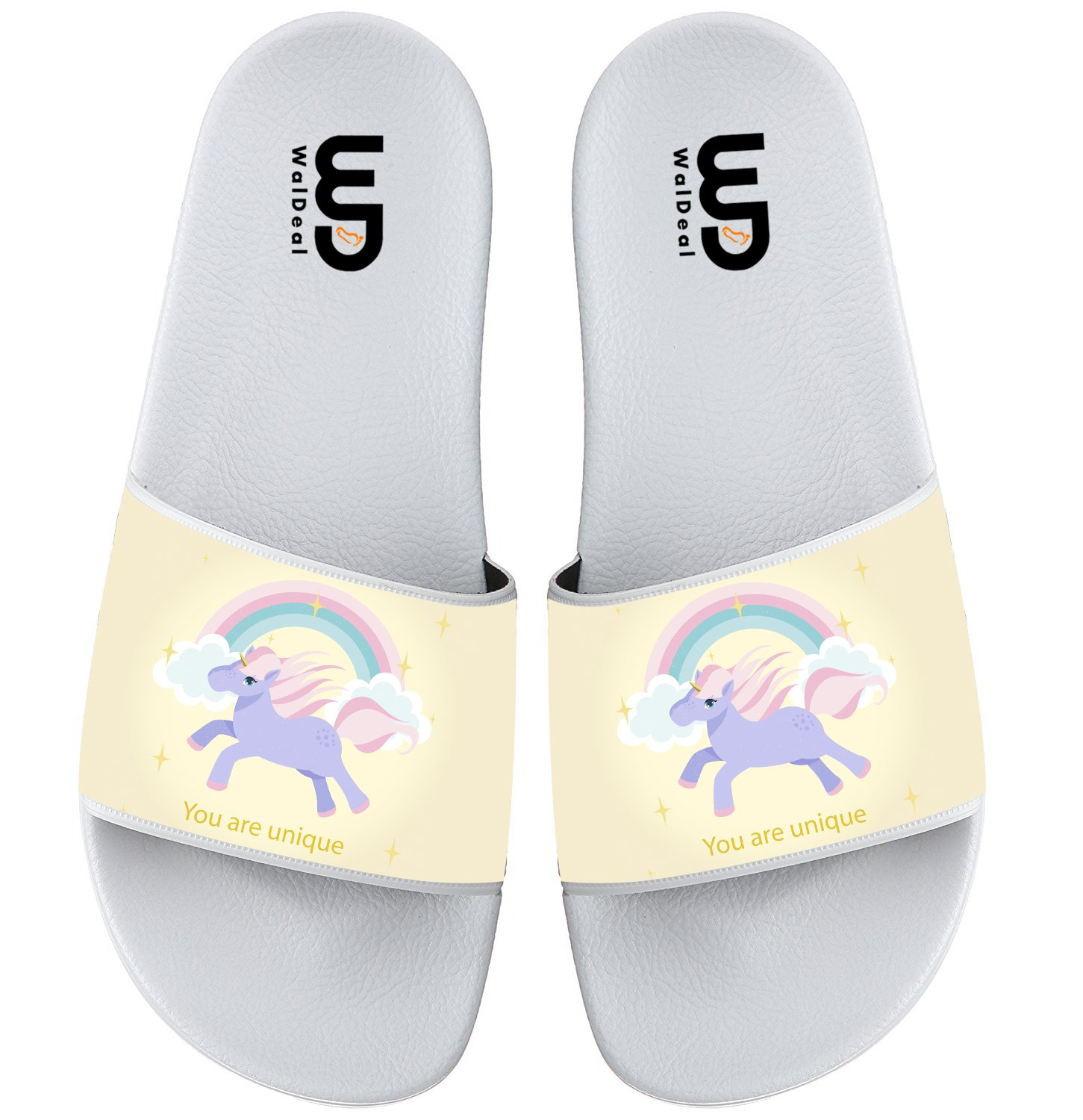 Unicorn With Rainbows And Clouds Summer Non-slip Slide Sandals Home Shoes Beach Swim Flip Flops Indoor and Outdoor Slipper Women Men B0753C1ZJJ 13 B(M) US|White