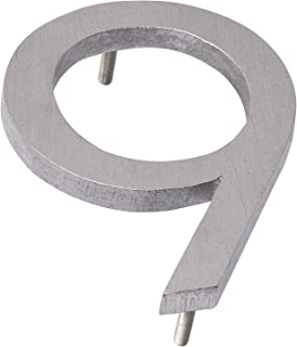 "product image for Montague Metal Products MHN-06-9-F-BA1 Solid Modern Floating Address House Numbers, 6"", Polished Brushed Aluminum"