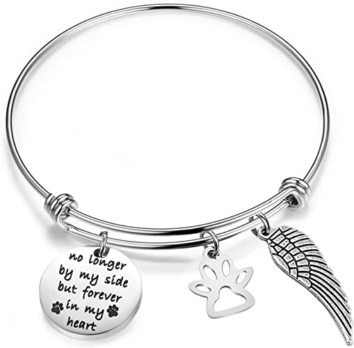Dogs Leave Paw Prints on Our Hearts Pet Loss Bangle Custom Dog Memorial Bracelet You Choose Charms