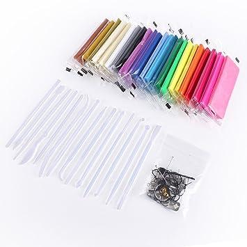 CLE DE TOUS@ 24 colores Arcilla polimérica Adhesivos para Manualidades + herramientas de modelado + accesorios DIY Manualidades: Amazon.es: Hogar