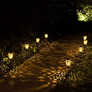 Walensee Solar Lights Outdoor (Black 2 Pack), Garden Decoration and ornamen, Moon and Star Pattern, Metal Sun Powered Stake Decorative Landscape Lamp Waterproof Dusk to Dawn for Lawn, Yard, Walkway