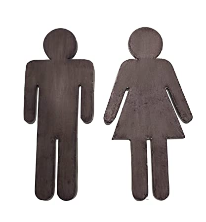 bathroom door sign boy and girl male and female metal set of 2 - Girl Bathroom Sign