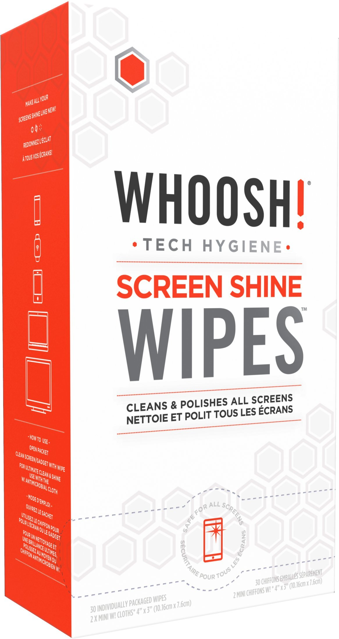 WHOOSH! Screen Cleaner WIPES - Safe for all screens - Smartphones, iPads, Eyeglasses, Kindle, Touchscreen & TVs (30 Count, Singles)