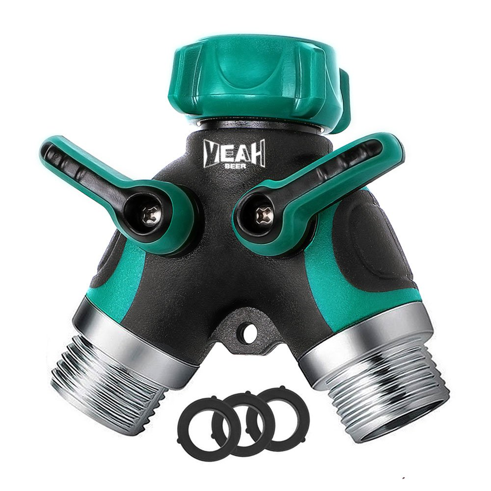 YEAHBEER Garden Hose Splitter,2 Way Hose Connector, with 3/4 Connector - Comfortable Rubberized Grip(3 Free Washers) by YEAHBEE