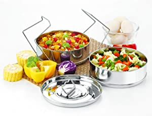 Stackable Stainless Steel Insert Pans - 3QT- Inserts for Instant Pot - Pan for Instapot - Accessories for Instant Pot 3QT and above - Pressure Cooker Steamer Pan Accessories (3QT)
