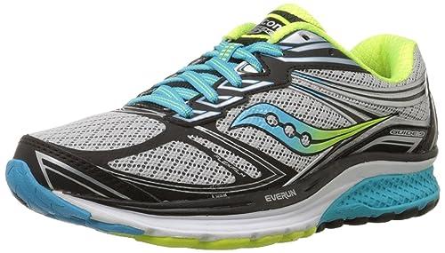 Saucony Women's Guide 9 Running Shoe, Grey/Blue/Citron, 3 W UK