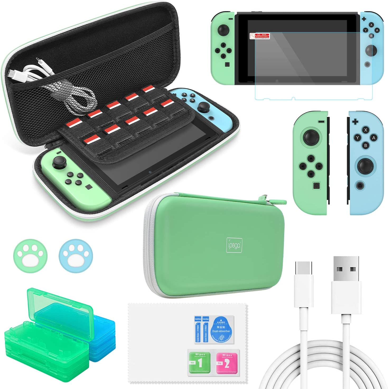 Accessories Kit Bundle for Switch,12 in 1 Essential Protection Kits with Carrying Case, Game Storage Case, Screen Protector, Silicone Cover Skin for Joy Con & Type C Charging Cable for Nintendo Switch: MP3 Players & Accessories