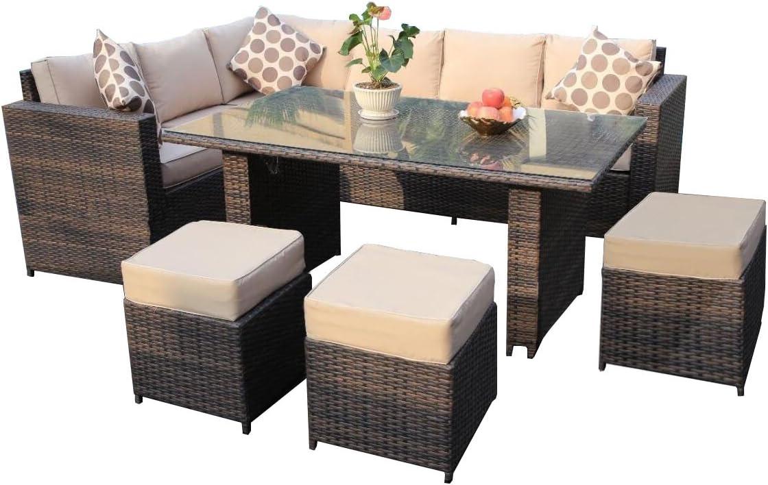 YAKOE Papaver Serie Jardín de Invierno Exterior 9plazas rinconera ratán Conjunto Muebles de Jardín Terraza, marrón, 182x 70x 70cm
