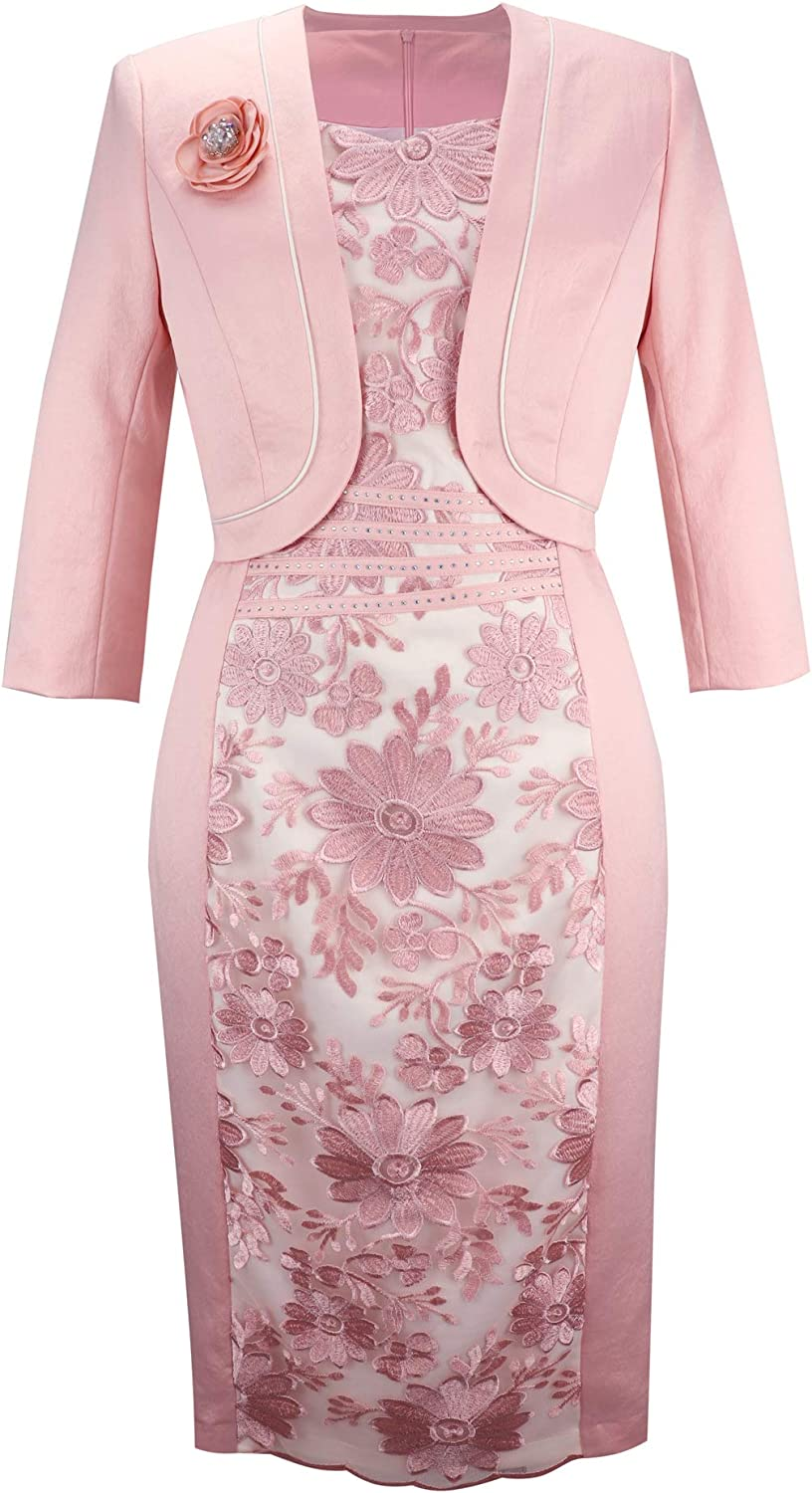 YIMIYI Women's Three Quarter Sleeve Plus Size Jacket with Straight Dress Two-Piece Suit