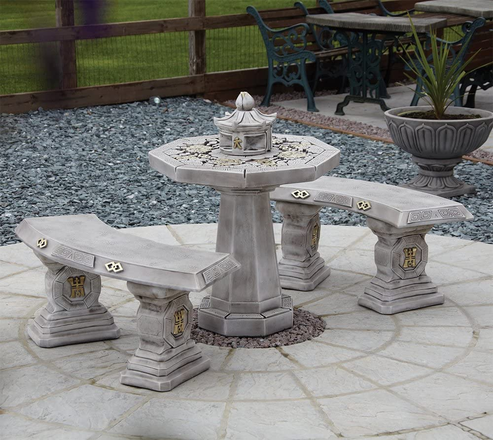 Garden Furniture - Japanese Stone Benches & Table Patio Set