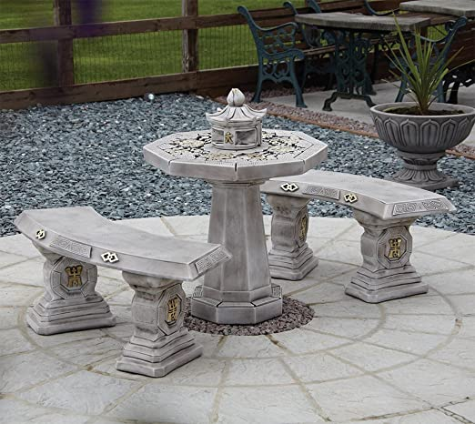 Muebles de jardín - japonés piedra bancos y juego de mesa de diseño cilíndrico: Amazon.es: Jardín