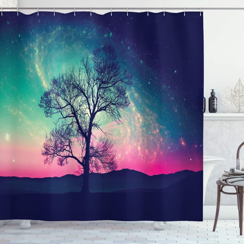 Ambesonne Galaxy Shower Curtain, Vibrant Stars Space Cosmic Lonely Tree Aurora Borealis, Cloth Fabric Bathroom Decor Set with Hooks, 70