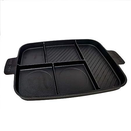 ToCis Big BBQ - Parrilla 5 en 1 de Hierro Fundido para Carne y Horno (45 x 30 x 3 cm)