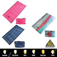 MULTIFUNCTIONAL HEADWEAR UNISEX DESIGN 3 PACK -Absorbs Sweat, UV Protection, 12-In-1 Headband For Outdoor Sports -Wear as a Neck Gaiter, Ski Snood, Bandana, Scarf And More-For Men and Women