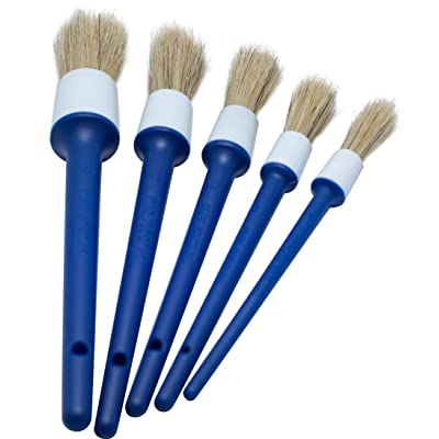 BlackZero Natural Boar Hair Detailing Brush 5pcs Set, Automotive Non-Slip Detail Brushes for Cleaning Wheels, Engine, Interior, Exterior, Leather, Seat, Lug Nut, Emblems, Air Vents, Car, Motorcycle: Automotive