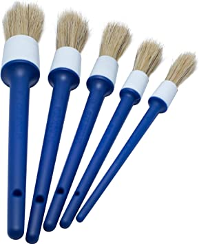 Emblems Interior Car Air Vents 5 Different Sizes Premium Natural Boar Hair Plastic Handle Automotive Detail Brushes for Cleaning Wheels Engine Motorcycle Detailing Brush Set Interior