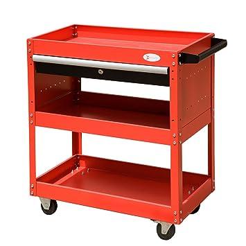 DURHAND 3 Tier Tool Trolley Cart Storage Shelf Roller Cabinet DIY Box Garage Workshop With