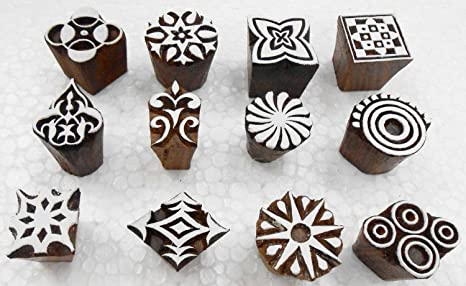 Wholesale Pack of 12 Wooden Block Printing Stamps for Textile Designing// Henna Tattoo// Crafts Printing pattern for Saree// Home decor