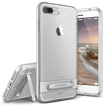 VRSdesign® Carcasa Transparente Crystal Bumper | Apple iPhone 7 Plus | Funda Doble Antichoque TPU + Policarbonato en Plata | Protección Smartphone ...