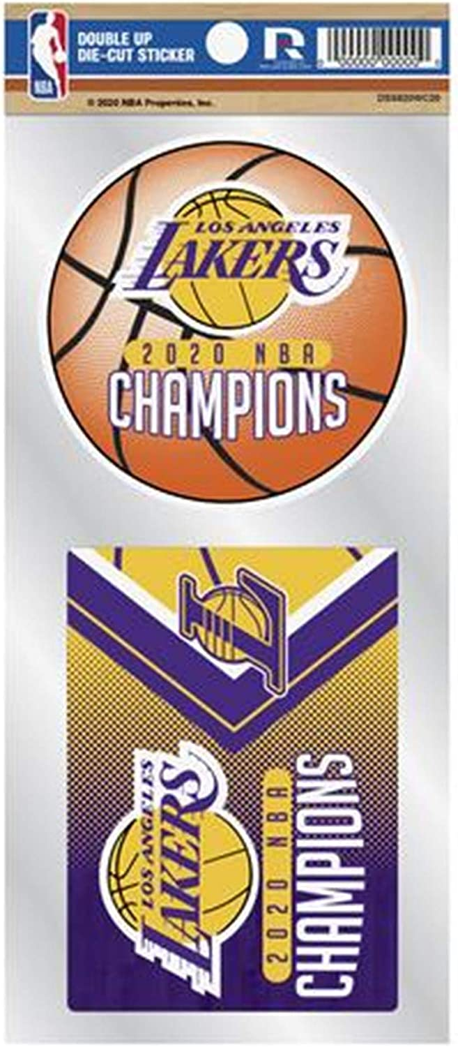 Inc Rico Industries Los Angeles Lakers 2020 Champions Double UP Decal Sheet Slogan Sticker Auto Home Emblem Basketball