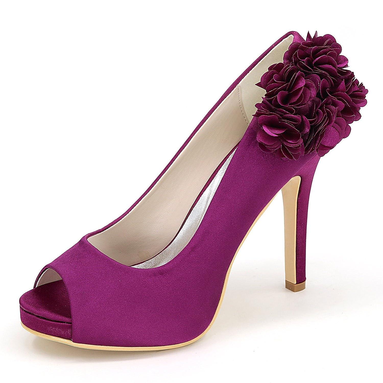 Elobaby Zapatos De Boda De Las Mujeres Punta Redonda Tacones Elegantes Fiesta Peep Toe Plataforma/11cm SatéN TalóN 38 EU|Purple