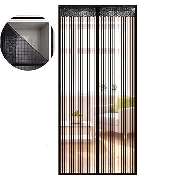 Icegrey Fliegengitter Tür Insektenschutz Magnet Fliegen Gitter Vorhang  Fliegenvorhang Für Balkontür Wohnzimmer Klettband Fassung Schwarz 80
