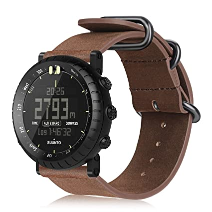 Suunto Core Watch Band, Fintie Leather Strap Replacement Wrist Bands with Metal Clasp for Suunto Core Smart Watch, Vintage Brown