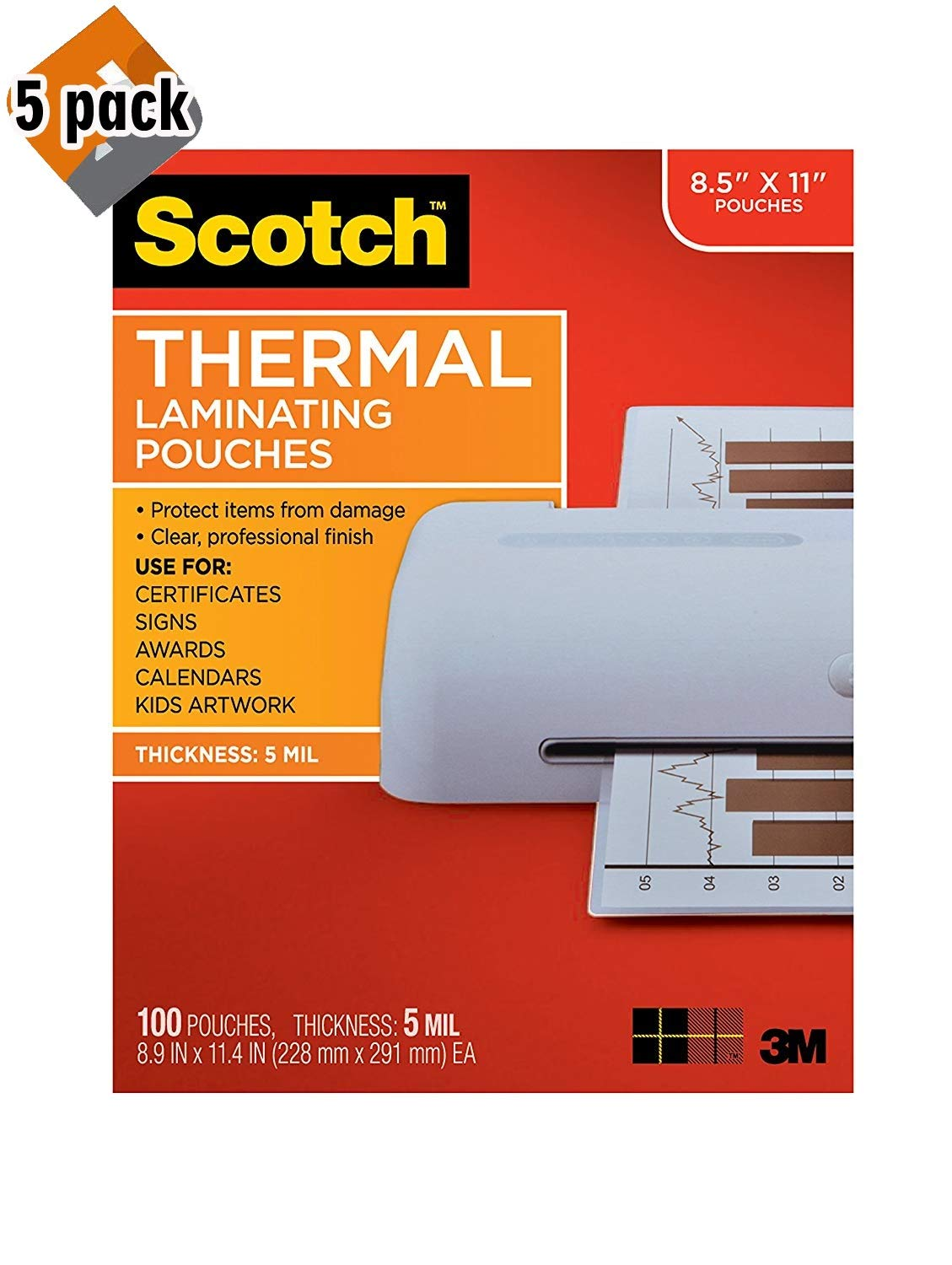 Scotch Thermal Laminating Pouches, 8.9 x 11.4-Inches, 5 mil Thick, 100-Pack (TP5854-100),Clear - Pack of 5