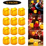 Warm Yellow Candle Light LED Flameless Tealight Candles Lights Wax Dripped Tea Lights Candles for Valentine's Day, Wedding, Party, Home, Christmas Decor (12 Packs, Battery Powered)