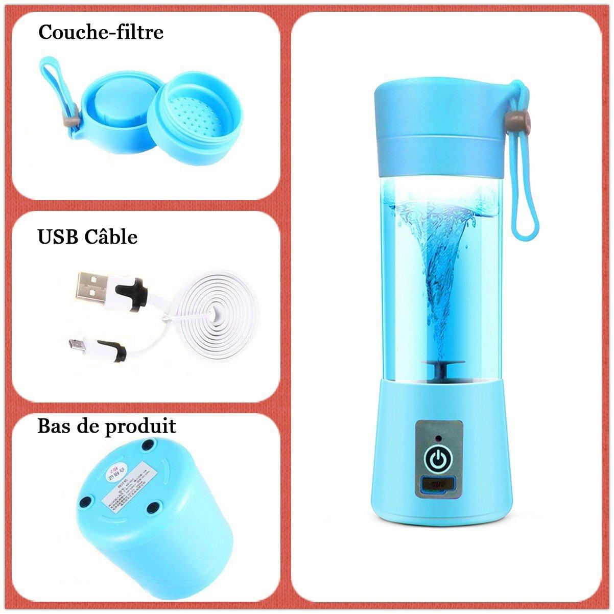 Mini batidora licuadora eléctrica, dutison multifuncional licuadora batidora portátil USB batidora licuadora artículo para Smoothies, zumo de frutas, ...