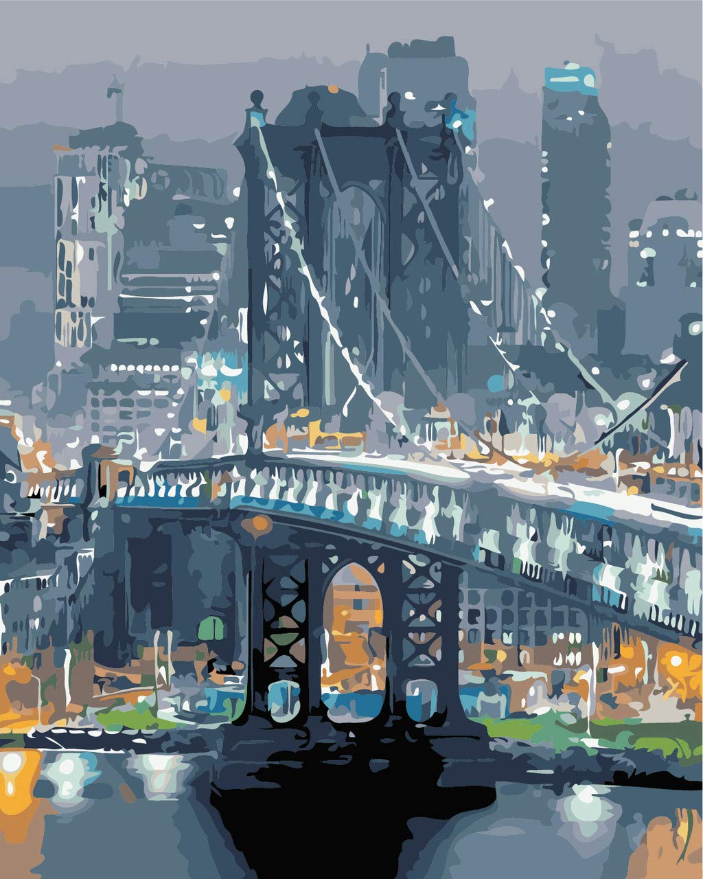 Paint by Numbers kit, Wooden Framed, DIY Oil Painting - The Brooklyn Bridge (16x20 inch.)